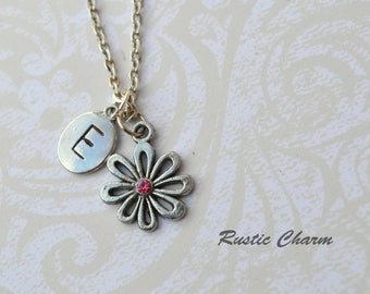 Personalized Initial Flower Pendant Necklace with Pink Tourmaline Crystal October birthstone