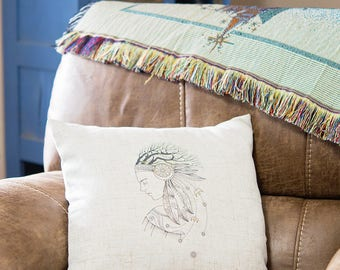 """Boho Pillow Cover - Native American Throw Pillow Case - 18"""" Square Cover - Gift for New Home - Home Decor - Insert NOT included"""