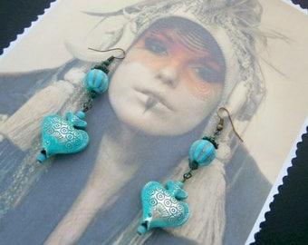 "Earrings ""Ethnic"" chic or Bohemian blue fish"