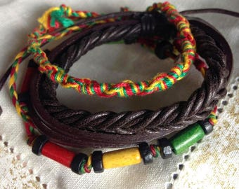 Leather bracelet with 2 vibrant coordinating color cord and beaded bracelets. Set of 3. FREE shipping in the USA!