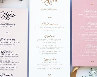 Melody Ivory and Blush Menus, Suitable for all Events, Calligraphy Wedding Menus Templates or Printed Menus, Golden Menus