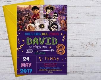 Coco Birthday Party Invitation, Coco Invite, Coco Party, Coco Movie, Coco Printable, Coco digital, Coco Disney, Pixar Coco Movie Invites
