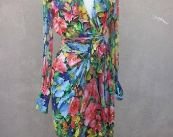 SZ 6 vintage 80's ALBERT NIPON silk wrap dress