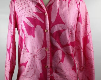 Womens Vintage Retro Vera Neumann 1960s Summer Fashion Pink Tropical Floral Print Cotton Top Blouse SZ 10