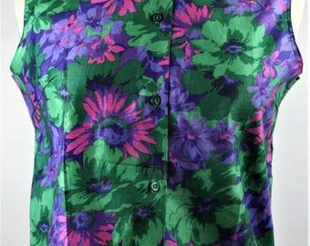 Womens Vintage Retro Summer Fashion 1960s Purple Pink Green Floral Print Sleeveless Blouse Top