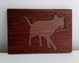 Carved walnut cat, solid wood art carving, cat silhouette wood carving