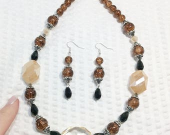Brown Crystal and Black Onyx Bead Necklace and Matching Pierced Earring Set