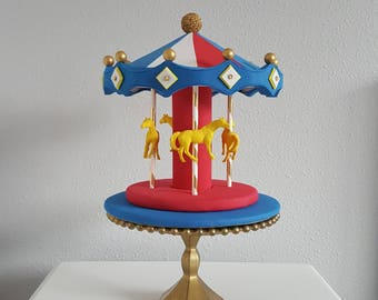 Carousel cake topper / centerpiece - red, white, blue, yellow,  gold