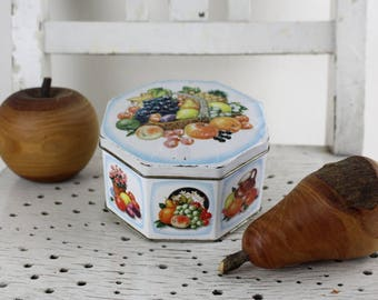 Vintage metal tin with fruits for tea, spices or storage Box Collectible Made in England