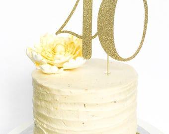 40 Birthday Cake Topper • Forty Cake Topper • Gold Glitter Topper • Age Cake Topper • Number Cake Topper