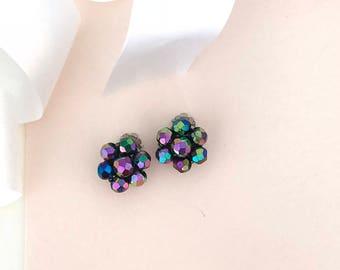1950s Earrings - Beaded Earrings - Disco Earrings - Antique Jewelry - Multi Color Earrings - Vintage - Earrings - 50s - Fifties - Wife Gift