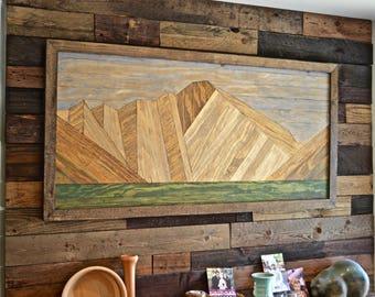 Large Longs Peak Colorado Wooden Wall Hanging ART