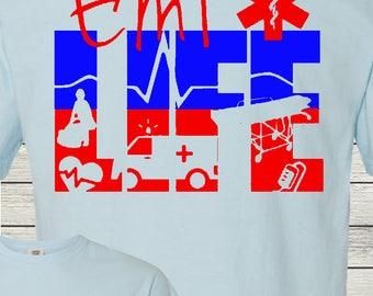 EMT Paramedic Life EMTLife Personalized Monogrammed T-Shirt Comfort Colors