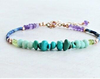 Boho Stacking Bracelet with Turquoise, Lapis & Amethyst, Beaded Gemstone Bracelet, Multi Gemstone Bracelet, Turquoise Jewelry, blue gemstone