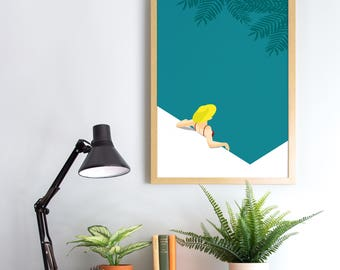 Tropical Bathing Pool Print - A4 A3 Size - Green Tropical Wall Art - Modern Minimal Decor - Graphic Illustration Poster - Pool Print