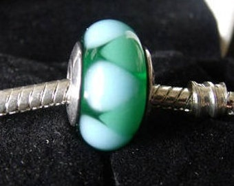 GREEN TEARDROP MURANO Glass Bead / New / Threaded Core / s925 Sterling Silver