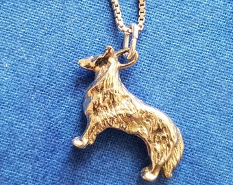 CP057 Sterling Silver Necklace with Sterling Silver Dog Pendant