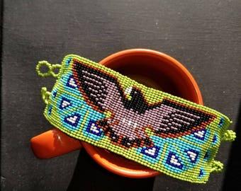 Huichol wide banded bracelet