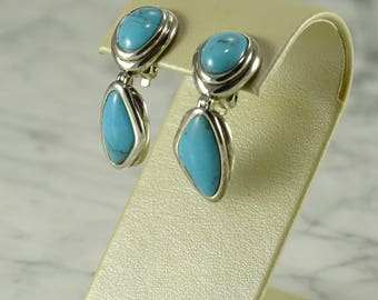 Sterling Silver / Turquoise Earrings (clip back)