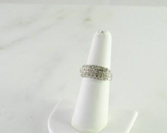 Art Deco 14K  White Gold Diamond Ring Size 6.25