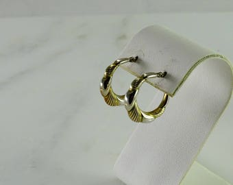Sterling / Gilt Two Tone Pierced Earrings