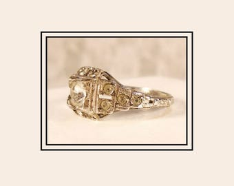 Art Deco Engagement Ring, Antique 1920s French Paste Ring, Signed UNCAS Sterling, Architectural Design, 13 Stone Ring, Authentic Antique.