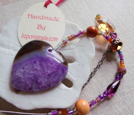 Christmas gemstone ornament - purple tree agate pendant - silver holiday charms - snowflake decor ideas - rosequartz star - Lizporiginals