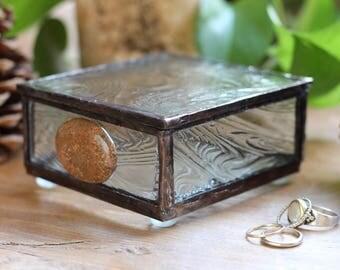 Clear Vertigo Glass Box with Jasper Stone
