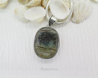 Antique Jasper Sterling Silver Pendant and Chain
