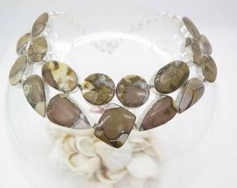 Brown Jasper Sterling Silver Necklace