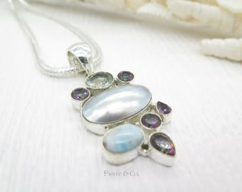 Mabe Pearl Larimar Mystic Topaz Green Amethyst Sterling Silver Pendant and Chain