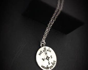 Silver Sterling Necklace, Compass Jewelry, Silver Compass Charm Necklace, Distance Necklace,Compass Charm Necklace,Gift Long Distance Friend