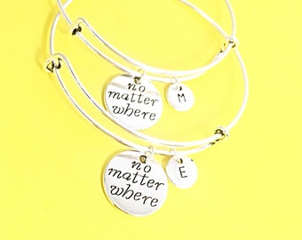 Set of 2 Friendship Matching Bracelets Custom Jewelry Friendship Gift. Long distance friendship bracelet, no matter where bracelet, bangles
