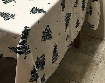 "Vintage Print TableCloth Cream with Green Christmas Tree Rectangular Linen 79""x57"" fit 4 chair table"