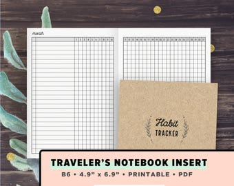 B6 TN Inserts | Habit Tracker | Monthly Healthy Habits Tracking, Traveler's Notebook Printable Inserts | Foxy Fix, Instant Download