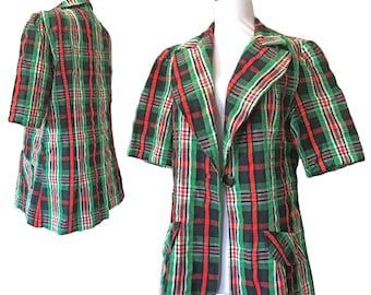 Vintage Retro 1970s Short-Sleeved Plaid Single Button Blazer — M/L