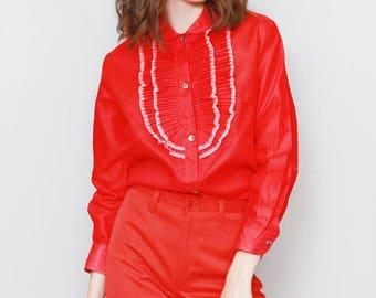 Vintage 1970's Della Rocca Cherry Red Ruffled Blouse