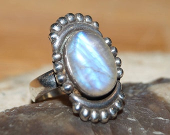 Moonstone Ring, Vintage Ring, Sterling Ring, Modernist Ring, mood ring, boho ring, size 6.5 ring, rainbow moonstone
