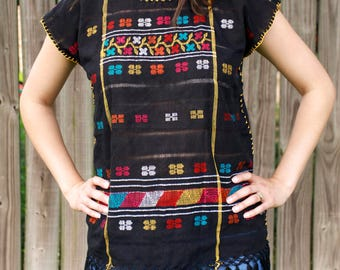 Mexican Huipil Blouse Medium