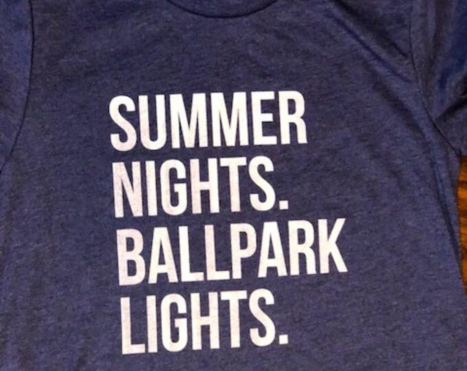 Featured listing image: Summer Nights. Ballpark Lights. Baseball tee.