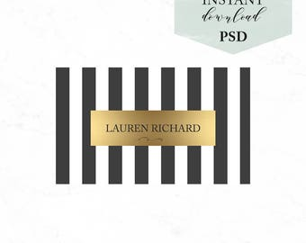 Black&white business card - Black stripes business card template - INSTANT DOWLOAD