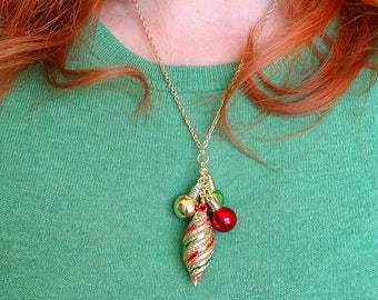 festive christmas necklace, christmas ornament necklace, ugly sweater party accessories, gold and red necklace, christmas cocktail party