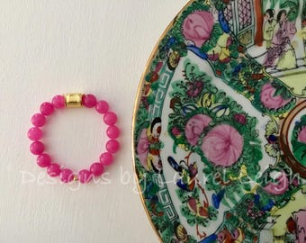 HOT PINK and GOLD Beaded Bracelet | gemstone, stretchy, Designs by Laurel Leigh
