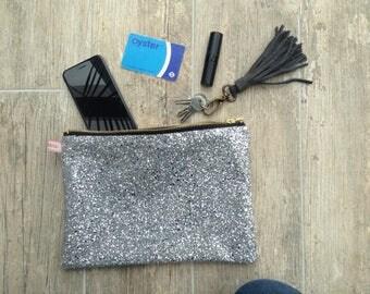 Large silver glittery clutch/pouch/purse