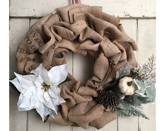 Recycled Coffee Bean Bag Burlap Medium Holiday Wreath - White Poinsettia and Natural Elements