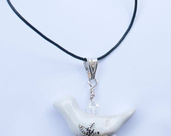 Ceramic bird necklace, white bird shaped pendant with crystal bead necklace, Unique necklace with leather cord for elegant gift idea