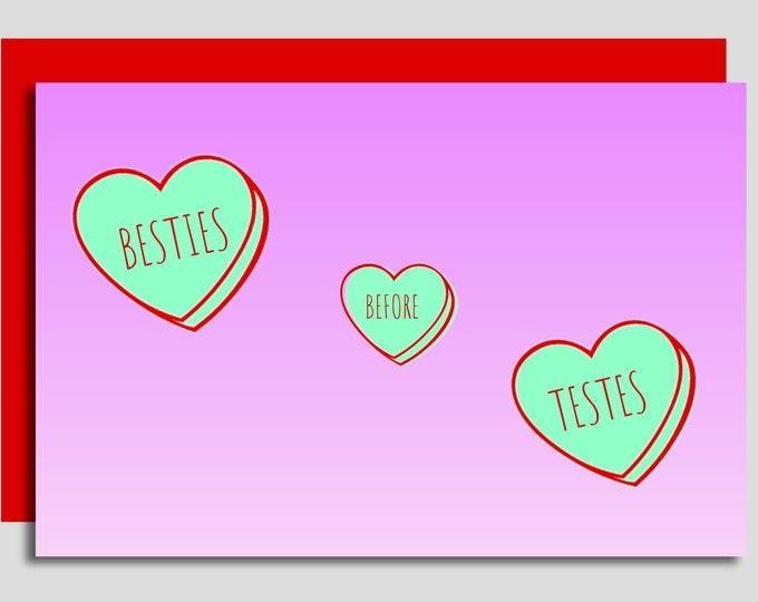 Featured listing image: Besties Before Testies Handcrafted Card