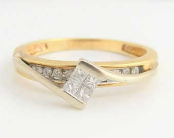Vintage Princess Quad Solitaire Double Ring- 10k Yellow Gold