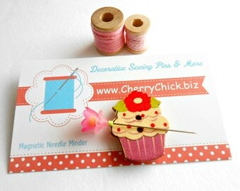 Cupcake Needle Minder - Needle Minder - Needle Magnet - Needle Keeper -  Gift for Quilter - Embroidery - Cross Stitch - Cherry Chick
