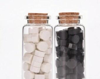 Black and White Wax Beads, Sealing Wax, Stamp Seal Wax, Bottled Wax - PJ062